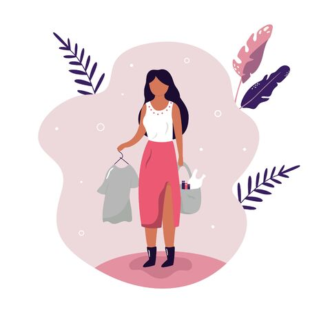Young woman with donating bags and t shirt. Illustration