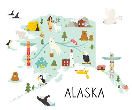 Alaska illustrated map with animals and symbols. Stock Illustratie
