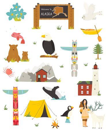Set of Alaska colorful symbols, landmarks, animals