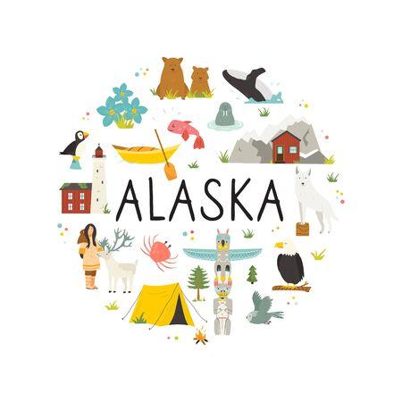 Tourist poster with animals, landmarks of Alaska