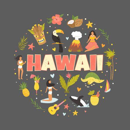 Hawaii emblem, print with symbols, landmarks icons