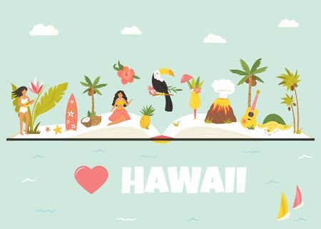 Tourist poster with famous landmarks of Hawaii.