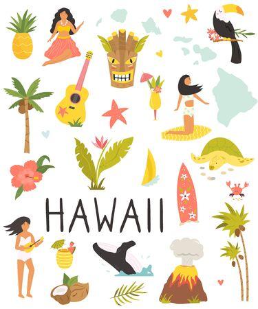 Set of colorful symbols, landmarks of Hawaii. Stock Illustratie