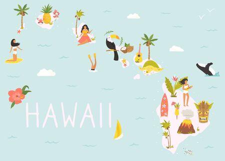 Hawaiian map with icons, characters and symbols.