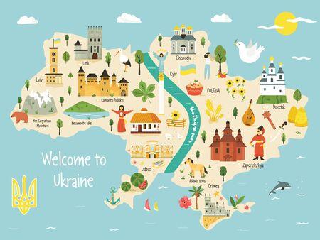Carte lumineuse de l'Ukraine avec paysage, symboles, bâtiments alimentaires, villes, personnages. Conception de vecteur avec des attractions touristiques. Pour guides de voyage, affiches, dépliants.
