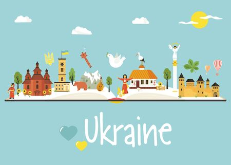Tourist poster with famous landmarks, buildings, food, characters of Ukraine. Explore Ukraine concept image. For banner, travel guides, prints
