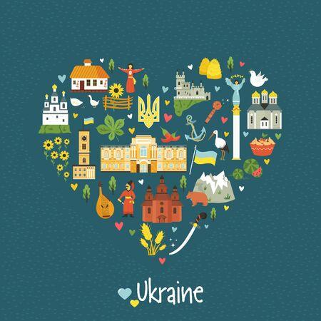 Abstraktes herzförmiges Emblem mit ukrainischen Wahrzeichen, Symbolen, Charakteren, Gebäuden, Essen. Vektordesign im flachen Stil für den Druck. Vektorgrafik