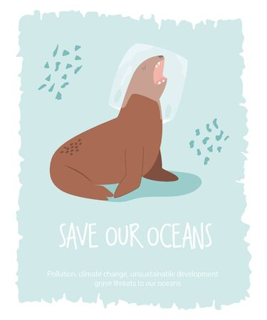 Eco poster with sea lion. Stop plastic pollution.