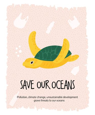 Vector graphic eco poster with sea turtle. Ilustrace
