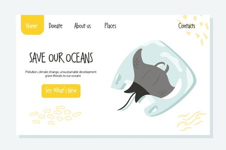 Eco website template with ray fish in a plastic bag. Save seas and oceans concept.