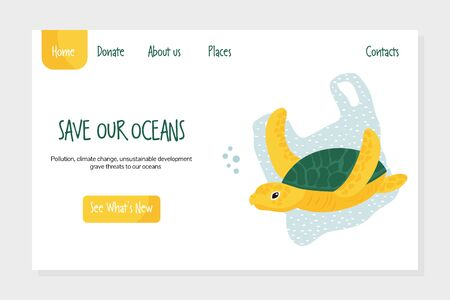 Eco website template with turtle and plastic bag. Save seas and oceans concept.