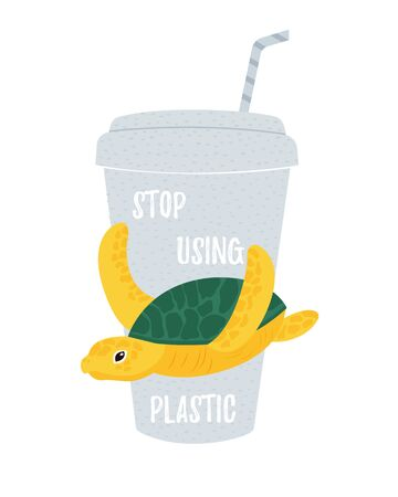Vector eco illustration with turtle and disposable cup. Stop using plsatic text. Concept to save marine life