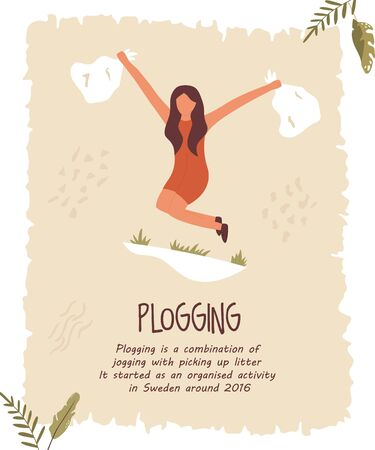 Young girl doing plogging. Eco poster, template