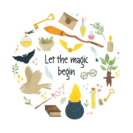 Design magico del cerchio astratto con oggetti fatati medievali, simboli scopa calderone, boccetta con pozioni, gufi. Banner vettoriale, poster, copertina