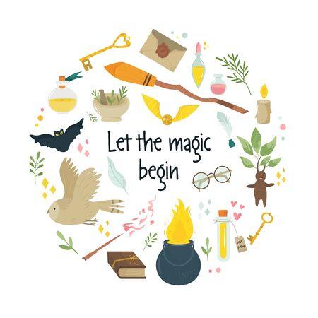 Diseño de círculo mágico abstracto con elementos de hadas medievales, símbolos caldero escoba, frasco con pociones, búhos. Vector banner, cartel, portada