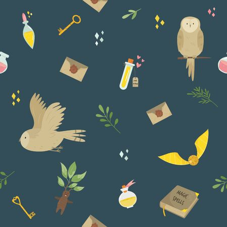 Seamless pattern with magic items, tools and owls. Vector illustration for gift boxes, wrapping paper, holiday decorations, wallpaper