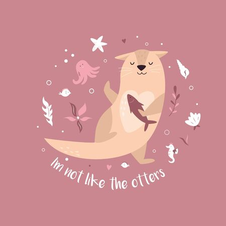 Funny poster with adorable dancing otter and text