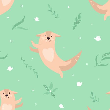Seamless pattern with adorable cute dancing otters