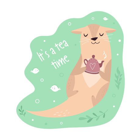 Funny poster with adorable otter with teapot Stock Illustratie
