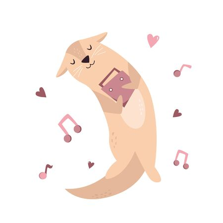 Funny poster with adorable dreaming dancing otter Stock Illustratie