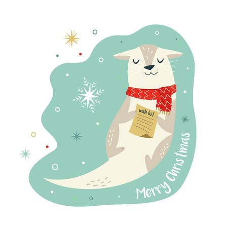 Christmas vintage card with cute holiday otter Stock Illustratie