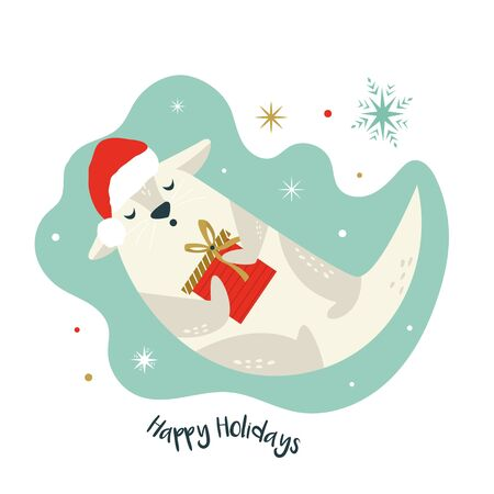 Christmas card with holiday otter in Santa hat Stock Illustratie
