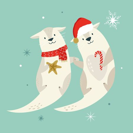 Holiday otters in scarf and Santa hat holding paws Çizim