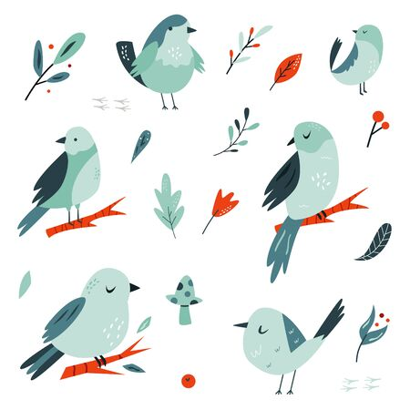Set of flat hand drawn doodle birds in blue tones.