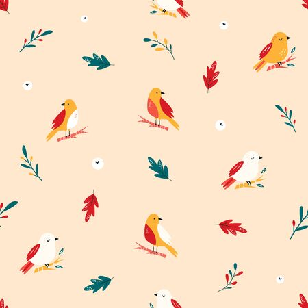Seamless pattern with cute birds. Vector design
