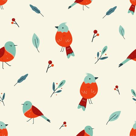 Seamless pattern with cute birds. Vector design Stok Fotoğraf - 134008778