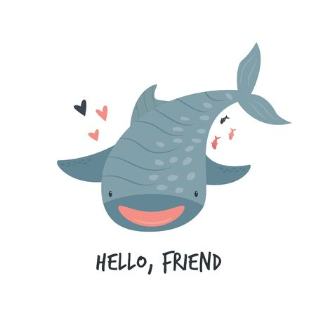 Cute smiling whale shark in childish style. Çizim