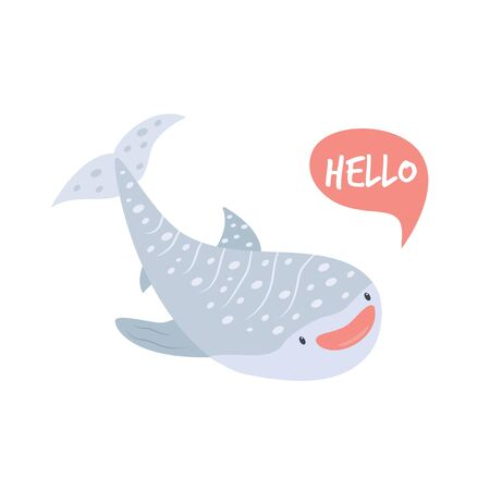 Cute smiling whale shark in childish style