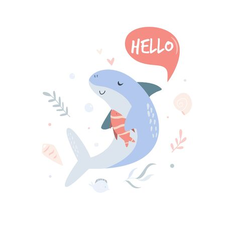 Cute shark swimming in ocean. Poster with adorable character. For invitations, baby showers, decor for childrens bedroom, t-shirt print