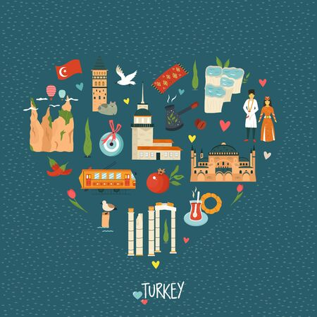 Abstract design with famous landmarks of Turkey