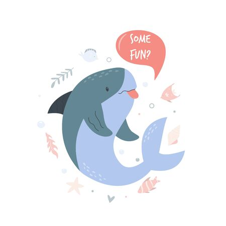 Cute shark design. Poster with adorable character Çizim