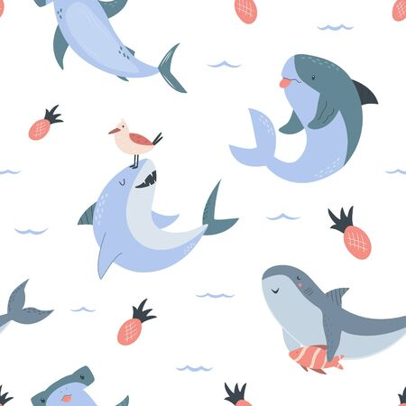 Summer seamless pattern with hand drawn sharks Stok Fotoğraf - 135621314