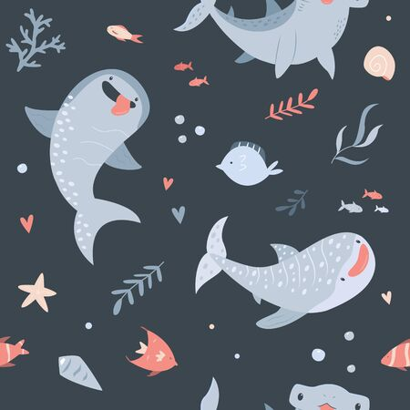 Summer seamless pattern with hand drawn sharks Çizim
