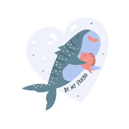 Cute shark design. Poster with adorable character Stok Fotoğraf - 135199246