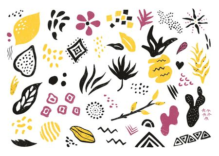 Big set of hand drawn textured elements and symbols. Abstract patterns for prints, designs, greeting cards