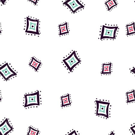 Seamless pattern with hand drawn geometric shapes.