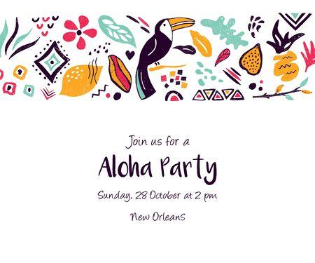 Design, card with floral elements for invitation Illustration