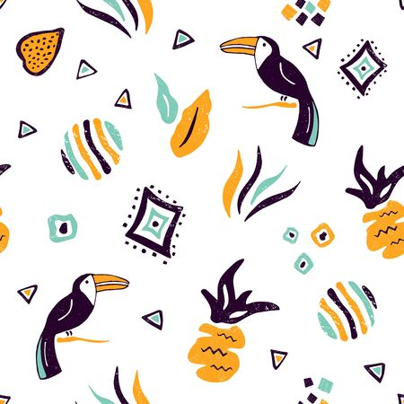 Seamless pattern with hand drawn toucans, leaves
