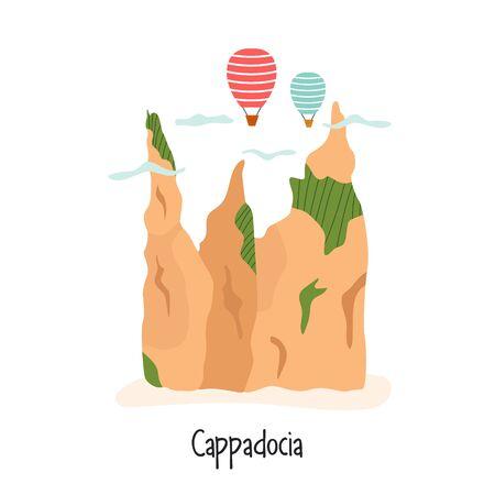 Vector image of famous Turkish landmark Cappadocia Stok Fotoğraf - 135886974