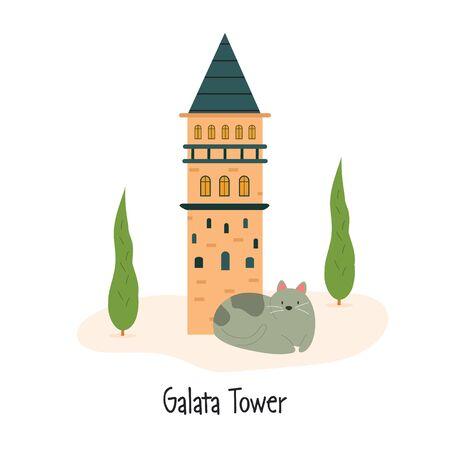 Vector image famous Istanbul landmark Galata Tower Stok Fotoğraf - 135722288