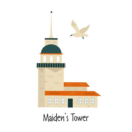 Vector illustration of famous Istanbul landmark Maidens Tower isolated on white background