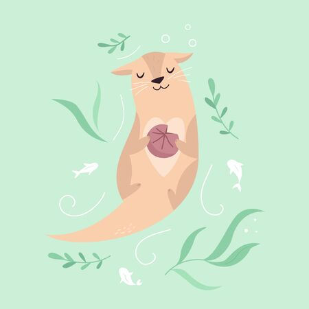 Funny poster with adorable dreaming otter with a shell. Animal character design, illustration for prints, posters, invitations, t-shirts, greeting cards.