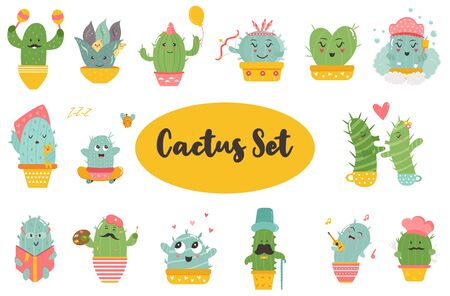 Big set of funny cacti characters. Different poses and actions. Vector illustration of kawaii succulents Stok Fotoğraf - 135782064