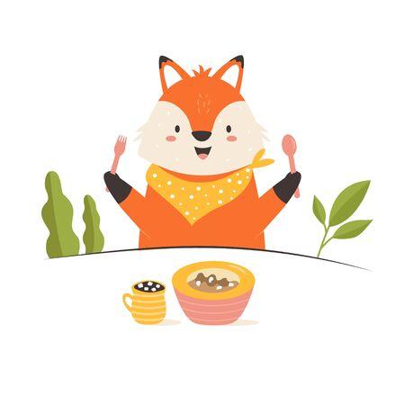 Funny fox having a breakfast. Vector illustration. Stok Fotoğraf - 136095676