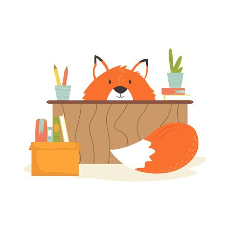 Funny fox pupil sitting at the table. Stok Fotoğraf - 136095482