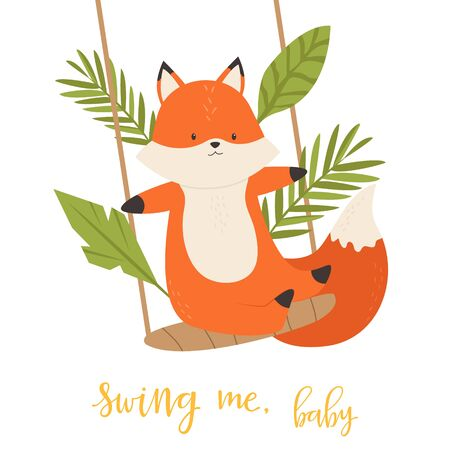 A Little cute swinging fox. Vector illustration.